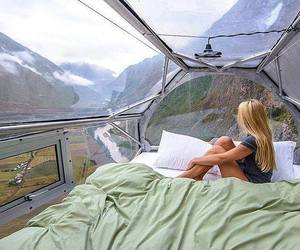 girl, travel, and bed image