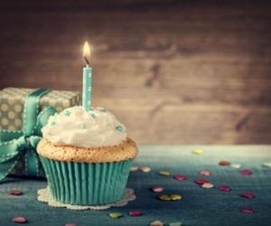 birthday, candle, and cupcake image
