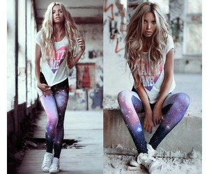 blond, outfit, and galaxy image