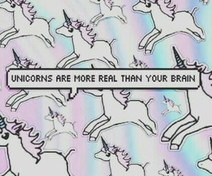unicorn, wallpaper, and brain image