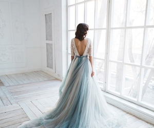 blue, wedding dress, and bridal image
