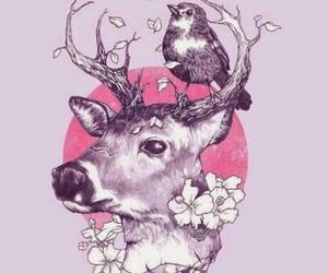 art, bird, and deer image