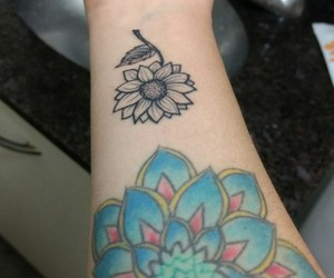 baby, blue, and tattoo image