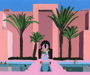 art, pink, and turquoise image