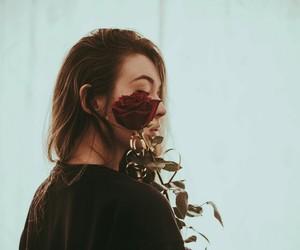 girl, rose, and alternative image