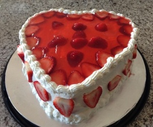 cake, strawberry, and red image