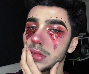 makeup, boy, and glitter image