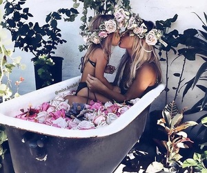 bathing, bff, and flowers image