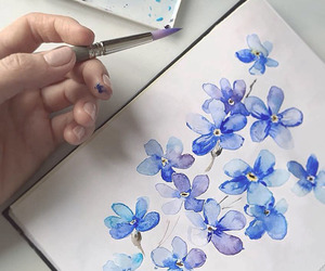 blue, flowers, and sketch image