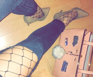 fashion, fashionable, and fishnet tights image