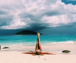 beach, summer, and yoga image
