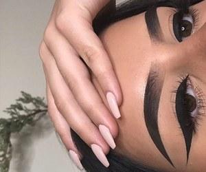 brunette, eyebrow, and eyeliner image