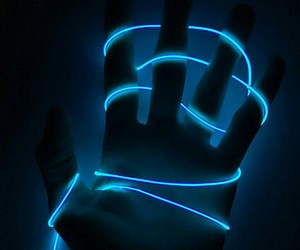 blue, hand, and neon image