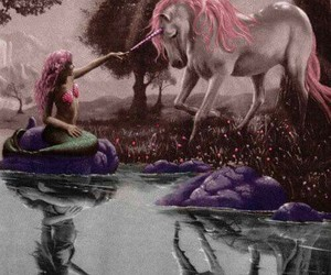 unicorn, mermaid, and black and white image