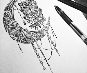 owl, moon, and art image