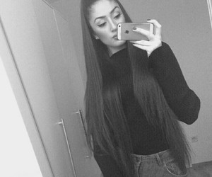 black and white, long hair, and mirror image