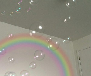 aesthetic, bubbles, and rainbow image