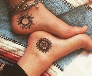 tattoo, feet, and henna image