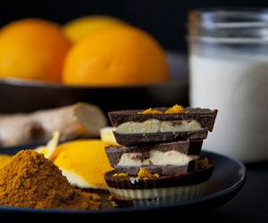 chocolate, dessert, and oranges image