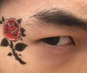 eyes, rose, and tattoo image