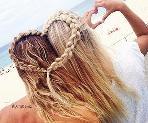 hair, heart, and beach image