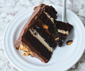 cake, chocolate, and peanut image