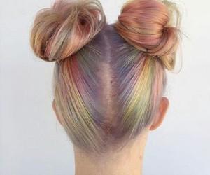 bun, hair, and pastel image