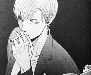 bl, black and white, and cigarette image