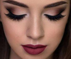 makeup, lipstick, and eyes image