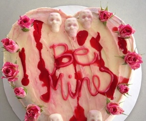 cake, skull, and blood image