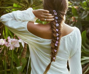 braid, flowers, and summer image