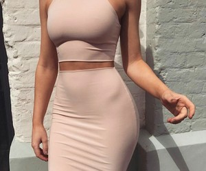 skirt, crop top, and lady woman women image