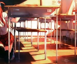 anime girl, classroom, and anime scenery image