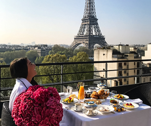 paris, breakfast, and flowers image