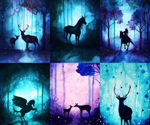 amazing, forest, and galaxy image