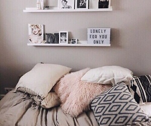 bed, inspiration, and pillows image