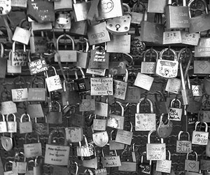 love, lock, and black and white image