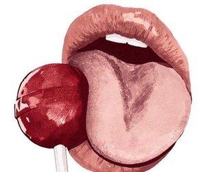 art, lips, and lollipop image