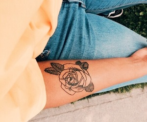 flower, tattoo, and yellow image