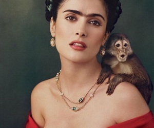 frida kahlo, Salma Hayek, and monkey image