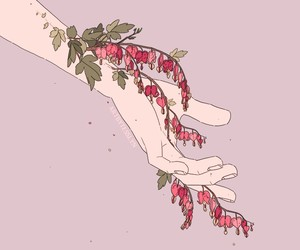 flowers, hand, and art image