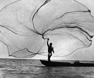 black and white, boat, and fishing image