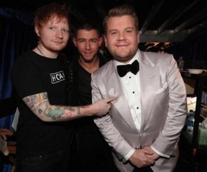 ed sheeran, nick jonas, and james corden image