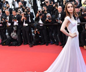 cannes, lily collins, and red caret image