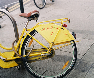 vintage, bike, and yellow image