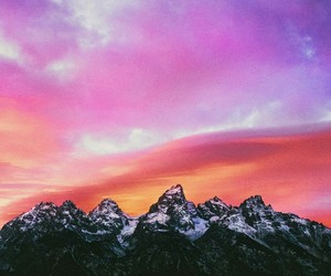 mountain, sky, and sunset image