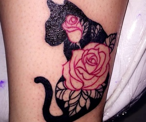 cat, flowers, and ink image