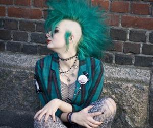 punk, green hair, and Mohawk image