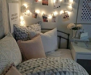 bedroom, room, and light image