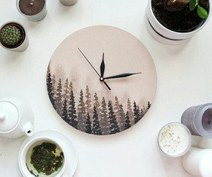 clock, diy, and forest image